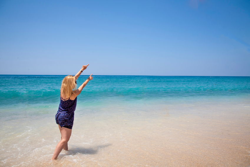 """Girl, """"young woman"""", beach, sand, waves, sea, """"blue sea"""", laugh, smile, enthusiasm, joke, gesture, emotion, relaxation, fun, travel, """"healthy lifestyle"""", summer, beauty, morning, happiness, enjoyment, youth, nature, blue, """"shades of blue"""", water, beautiful, """"get wet"""", posing, """"positive emotions"""", sunlight, blond"""
