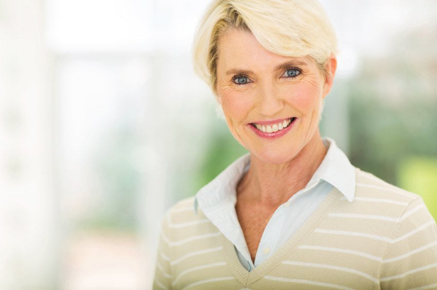 elegant middle aged woman closeup portrait